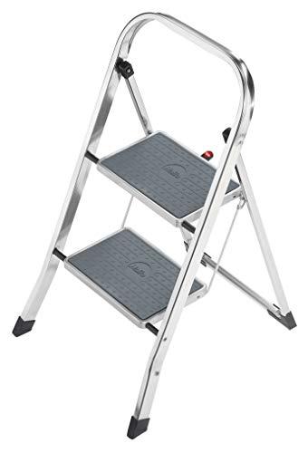 Hailo K60 StandardLine, Alu-Trittleiter, 2 Stufen, Klappsicherung, besonders leicht, einfach zu vers...