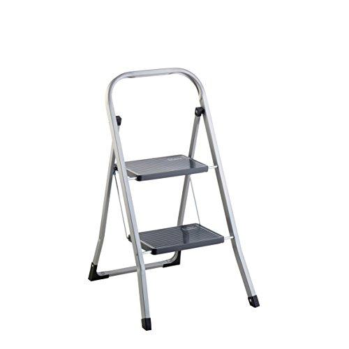 axentia Trittleiter 2 Stufen klappbar, Klapptritt aus Metall mit Haltebügel und großen Stufen, Kla...