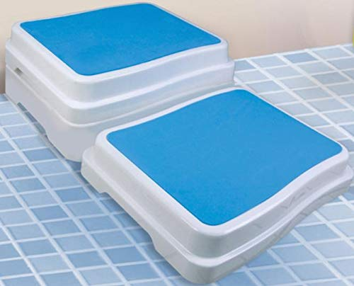 REHAFORUM MEDICAL Badewannen-Stufe, weiß/blau, Stufe für erleichterten Zutritt zur Badewanne, Bade...