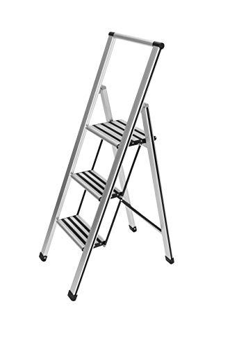 WENKO Leichte Aluminium Trittleiter mit 3 Stufen für 75 cm höheren Stand, rutschsichere XXL-Stufen...