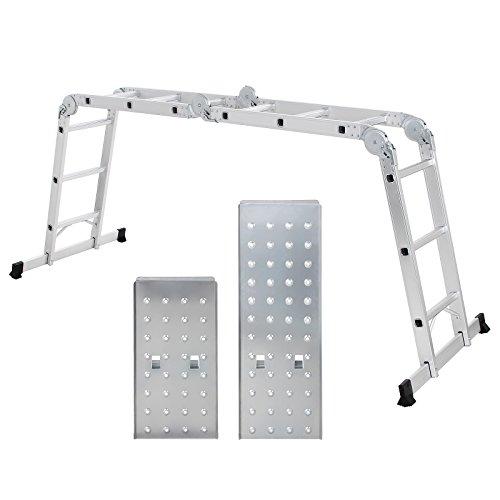 SONGMICS Leiter Mehrzweckleiter 3.6M, Alu haushaltsleiter, bis 150 kg, 12 Stufen mit 2 Gerüstplatte...