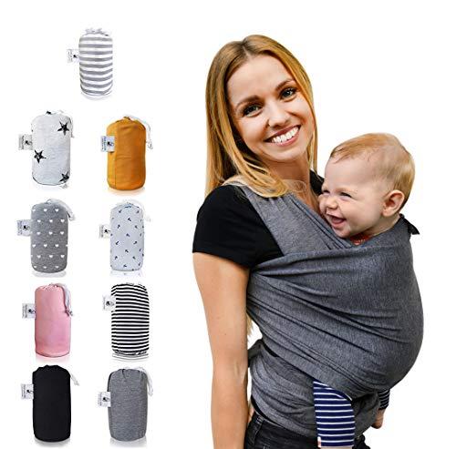 Fastique Kids® Tragetuch - elastisches Babytragetuch für Früh- und Neugeborene + Anleitung (5,2m ...