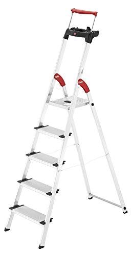Hailo XXR ComfortLine Alu Stehleiter (5 XXL-Stufen, EasyClix, Ablageschale, ausziehbarer Haltebügel...