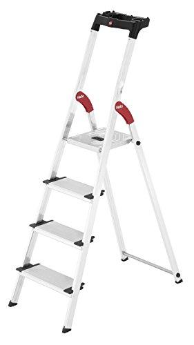 Hailo L80 ComfortLine, Alu-Sicherheits-Stehleiter, 4 XXL-Stufen, belastbar bis 150 kg, silber, Made ...