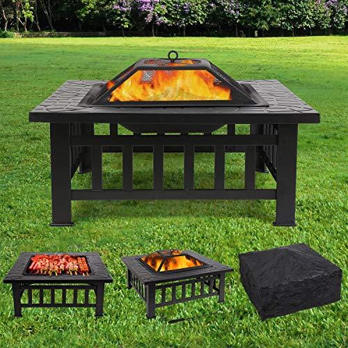 femor Feuerstelle mit Grillrost 81x81x45cm, Multifunktional Fire Pit für Heizung/BBQ, Garten Terras...