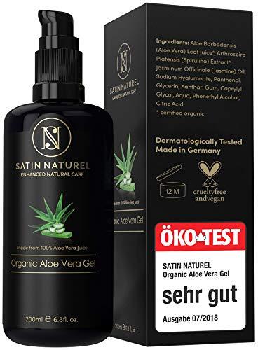 Aloe Vera Gel BIO 100% - ÖKO Test SEHR GUT 08/20 - Vegan mit Hyaluronsäure, Bio Spirulina, Jasmin ...