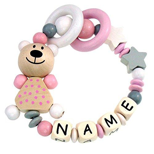 Premium Greifling mit Namen HOLZ Rassel Modell Teddybär Sterne grau rosa