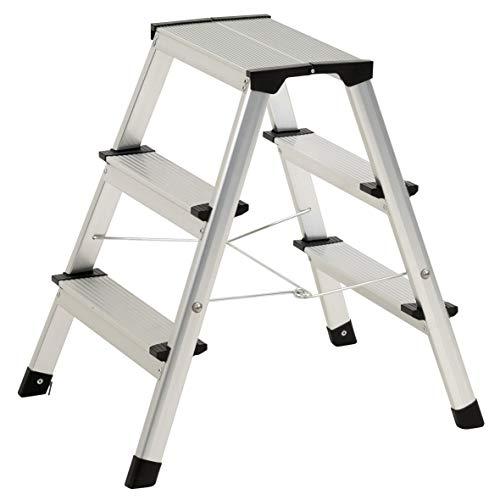 Ribelli Aluminum-Leiter Trittleiter Alu Klapptritt mit Spreizsicherung und 3 Stufen bis 150 kg belas...