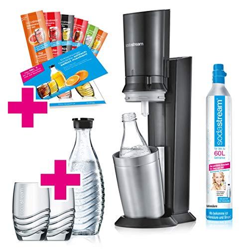 SodaStream Crystal 2.0 Wassersprudler-Set Promopack mit CO2-Zylinder, 2x Glaskaraffen, 2x Trinkgläs...