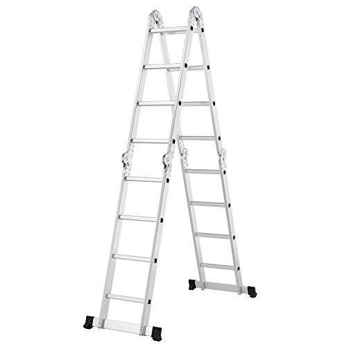 Juskys Aluminium Multifunktionsleiter 4x4 Stufen – 4,7 m Gesamtlänge - Gelenkleiter - Klappleiter...