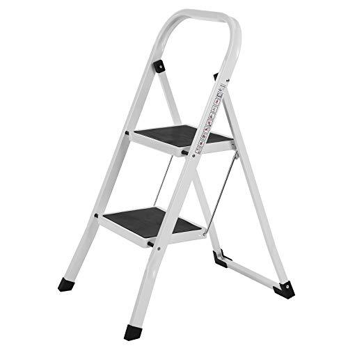 SONGMICS Trittleiter, Leiter mit 2 Stufen, Klapptritt, Klappsicherung, einfach zu verstauen, bis 150...