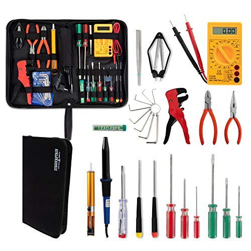 Stagecaptain EWS-15 Elektro-Werkzeug Set (27 Teile, inklusive Lötkolben und Multimeter, für Prober...