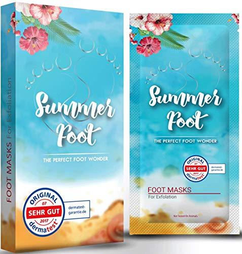 SUMMER FOOT Premium Fußmaske zur Entfernung von Hornhaut I Samtweiche und zarte Füße nach nur ein...