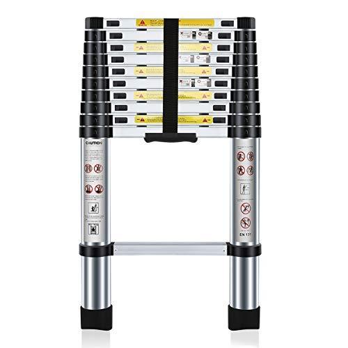 Nestling® Teleskopleiter 3.2M Alu Leiter Ausziehbar Haushaltsleiter Teleskopleiter Aluminium Klappl...