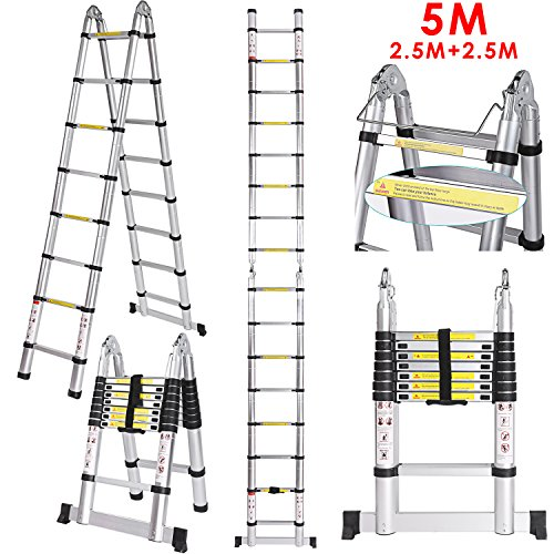 5 M Teleskopleiter Auszeihleiter aus Hochwertigem Aluminium Leiter Aluleiter Mehrzweckleiter Telesko...