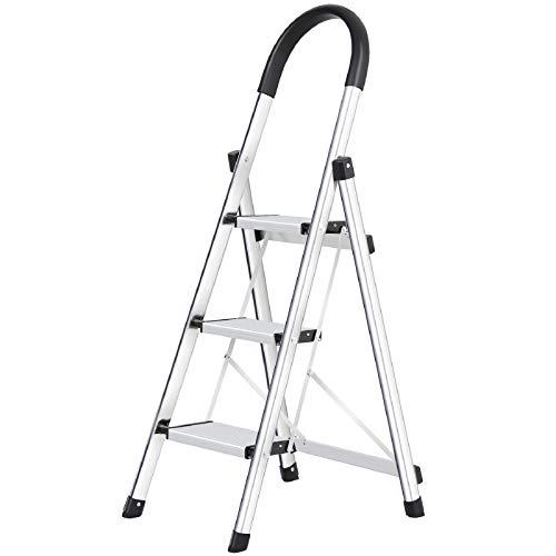Trittleiter 3 Stufen klappbar, Alu Sicherheits Stehleiter, Tragbare Faltet Rutschfest Mit Gummihandg...