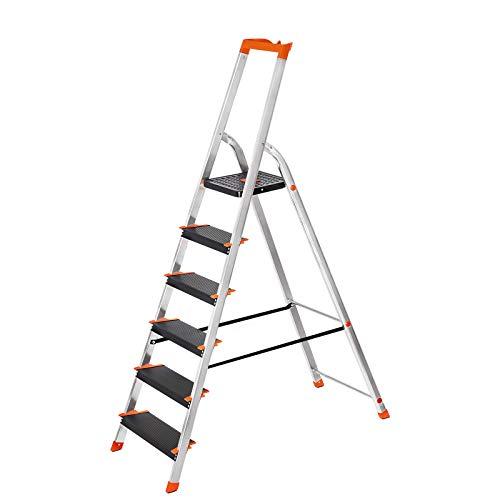 SONGMICS Leiter 6 Stufen, Aluleiter mit 12 cm breiten Stufen, Stehleiter mit Werkzeugschale, Klapple...