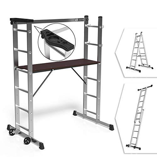 VOUNOT Alu Leitergerüst 3 in 1, Baugerüst Alugerüst Gerüst, Aluminium Leiter und Gerüst, Arbeit...