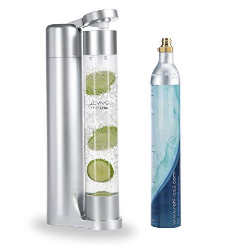 Levivo Wassersprudler Fruit & Fun Sprudler Slim, mit 1-Liter-Sprudlerflasche und CO2-Kohlensäure-Ka...