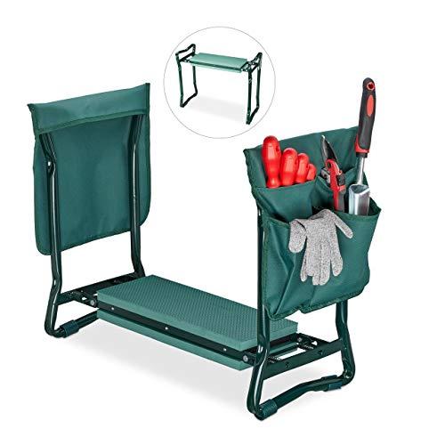 Relaxdays, grün Kniebank, weiches Kniekissen, 2 Taschen, klappbar, Kniehilfe Gartenarbeit, bis 150 ...