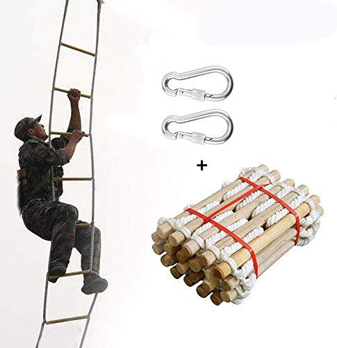 Ridecle 3m Rettungsleiter Feuerleiter Fluchtleiter Kletterleiter aus Holz Outdoor Weiche Nylon Stric...