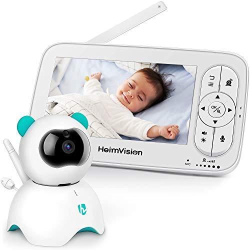 HeimVision Babyphone mit Kamera, 5-Zoll-LCD-Babyphone, HD 720P-Video, Zwei-Wege-Audio, Temperatur- u...