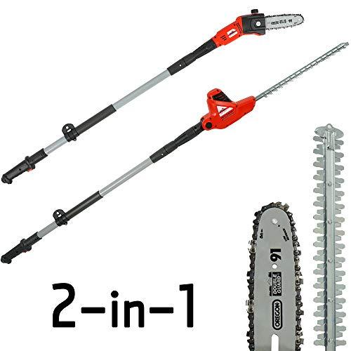 Grizzly Tools KSHS 710-500 2in1 Kombigerät Elektro-Hochentaster und Teleskop-Heckenschere, Länge 2...