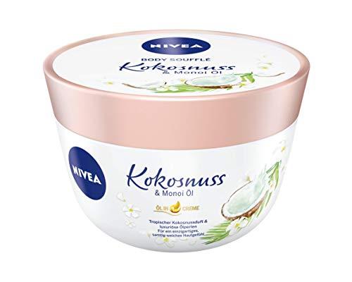 NIVEA Body Soufflé Kokosnuss & Monoi Öl (200 ml), Körperpflege für 24h Feuchtigkeit, Lotion für...