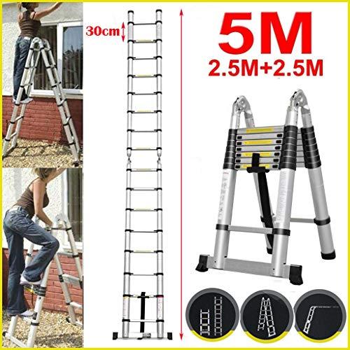 5M Teleskopleiter ausziehbare Leiter Aluleiter Ausziehleiter Anlegeleiter 16 Sprossen Mehrzweckleite...