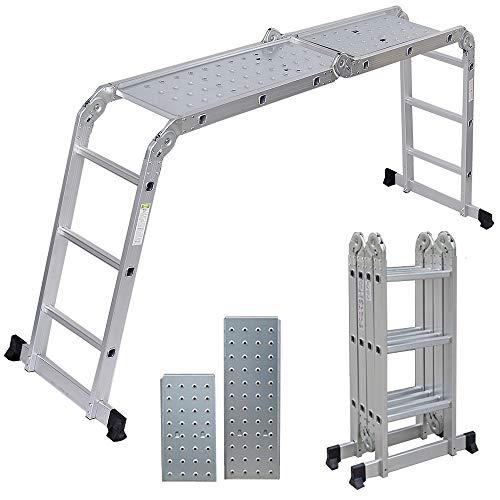 Artall Aluminium Mehrzweckleiter 4 x 3 Sprossen mit 2 Gerüstplatten, bis 150KG, 3,6m Gesamtlänge, ...