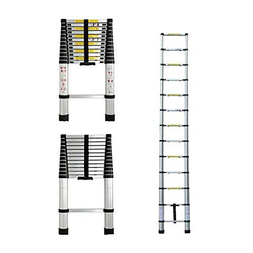 3,8m Aluminium Mehrzweckleiter Teleskopleiter Ausziehbar Leiter Klappleiter Anti-Rutsch Stufen Multi...