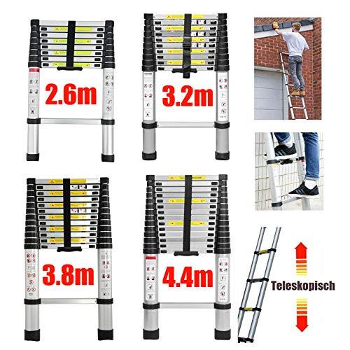 4,4m Teleskopleiter Mehrzweckleiter für Dachboden/Kletterdach/Büronutzung/Baujob Ausziehbar Alulei...