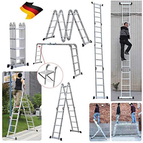 Alu Mehrzweckleitern 4.7M Gerüst Leiter mit Pattform Multigerüst Leiter 4x4 Sprossen, bis 150 kg b...
