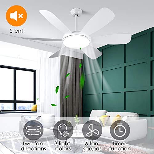 Albrillo LED Deckenventilator mit Beleuchtung - 91W Super Leise Ventilator mit Licht, 3 Farbtemperat...