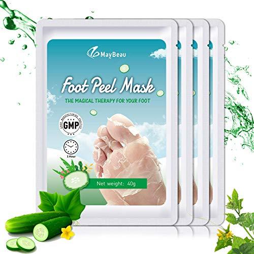 MayBeau Fußmaske 4 Paar Fuß Peeling Maske zu Hornhaut Entfernung mit Gurke Duft Fuß Hornhautentfe...