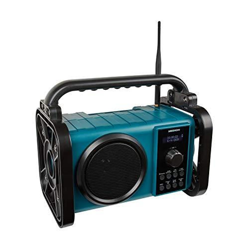 MEDION P66220 Baustellenradio mit Bluetooth 5.0, PLL UKW Radio, Spritzwassergeschützt (IP44), Robus...