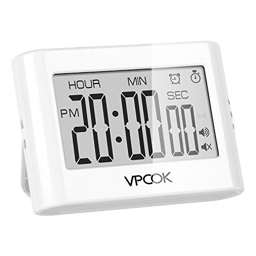 VPCOK Digitaler Timer und Stoppuhr, Eieruhr, Küchenuhr mit Magnethalterung, Kurzzeitwecker zum Koch...