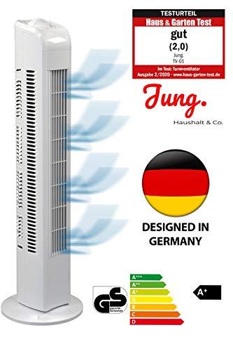 JUNG TF01 Ventilator 76cm weiss - TESTSIEGER 2020 NOTE 2,0(GUT) - BESTSELLER NR1, Leise Turm-lüfter...