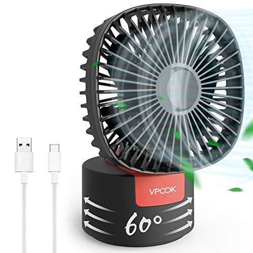 VPCOK Tischventilator leise, USB Ventilator mit 60° automatische Drehung, kraftvoller und geräusch...