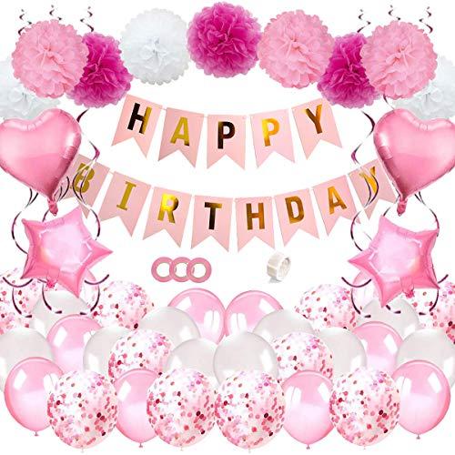 JSTC Geburtstagsdeko Mädchen Deko Kindergeburtstag, Happy Birthday Girlande Geburtstag Dekoration m...