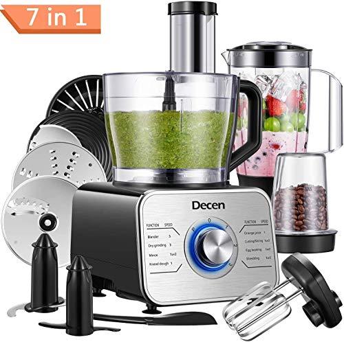 Decen Küchenmaschine Multifunktional, 1100W Food Processor mit 3 Geschwindigkeiten - Elektrischer Z...