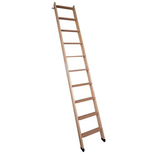 DOLLE Hochbettleiter aus Holz mit 10 Stufen | Geschosshöhe bis 245 cm |In Natur oder Weiß lackie...