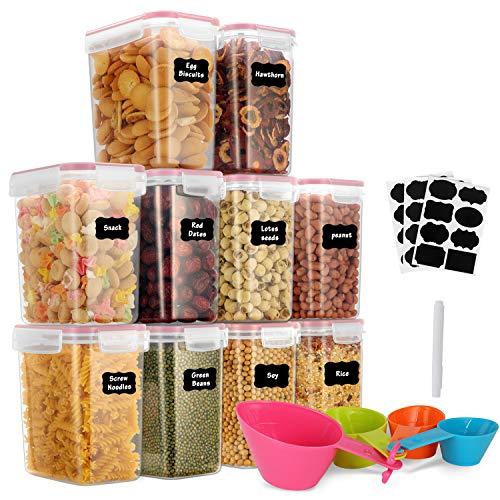 GoMaihe 1.6L Vorratsdosen 10 Set, Aufbewahrungsbox Küche Luftdicht Behälter aus Plastik Mit Deckel...