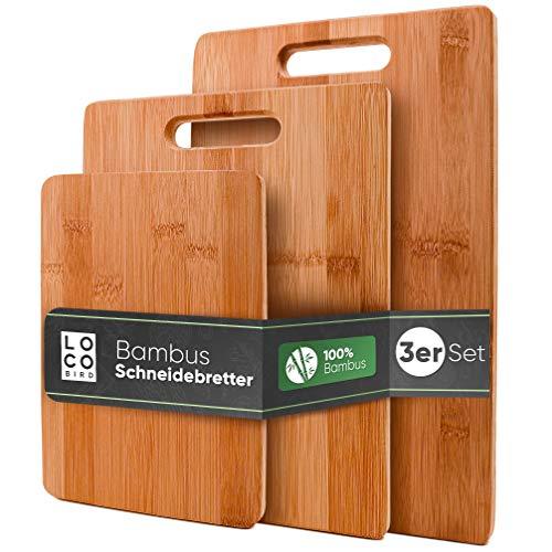 Loco Bird massive Bambus Schneidebretter 3er Set - 33x22cm / 28x22cm / 15x22cm - Holz-Brett für die...